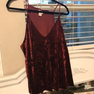 Velvet burgundy tank top